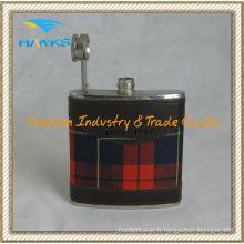 Flacon en cuir en acier inoxydable en inox de 6 oz pour la promotion