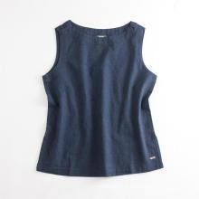 Camisa casual feminina de linho sem mangas para desgaste superior