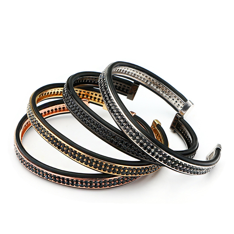 CZ Open Copper Open Mens Bangles