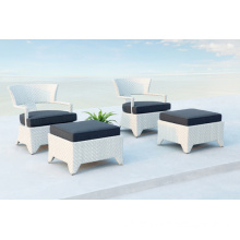 Rattan Garden Patio Lounge Chair with Ottoman