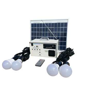 Small portable solar lighting kits with radio system