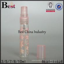 Frasco de perfume de vidrio de 2 ml / 3 ml, botella de perfume de tubo de marca con estampado de flores de color rosa