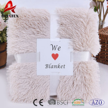 luxuriant long pile pv fleece fake fur solid winter blankets