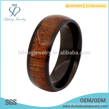 New arrival black titanium and wood rings for men,wood inlay rings for men