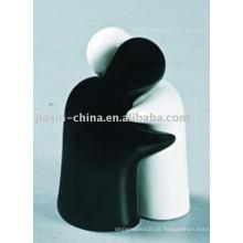 Conjunto de sal e pimenta em cerâmica branco e preto JX-17NAB