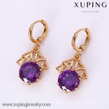 25574 Xuping moda Crystal Gemstone Earring, brinco de ouro 18K chapeado