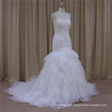 Real Sample Sweetheart Organza Mermaid Beading Wedding Gown