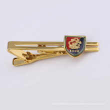 Boucle de cravate en métal plaqué or avec badge (GZHY-LDJ-007)