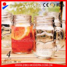 Drinking Mason Jar Logo Pots de maçonnerie en verre bon marché avec tige