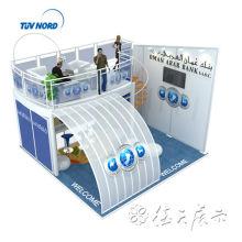 llamativo stand de feria de dos pisos, cabina de dos pisos con escenario de Shanghai