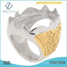 Cool en or jaune en acier inoxydable photo gravée anneaux Indonésie vente en gros
