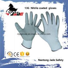 13G Nylon Line Palm Gary Nitrile Smooth Coated Glove