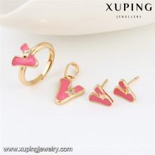 64033 Xuping Großhandel 2 Gramm vergoldet schwere Goldschmuck Designs Dulhan-Sets