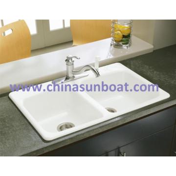 Sunboat emaillierte Gusseisen Wasserkanal / Pintough / Flume / Doppel Waschbecken Emaille Cast Iron Sink