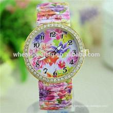 2015 reloj de señora de moda de la aleación de la manera del cuarzo de la serie de la flor