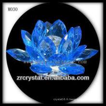Fleur de lotus en cristal bleu