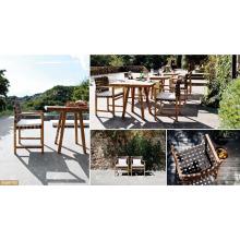 FLORES COLLECTION - Best Selling Poly Rattan PE Holz Esszimmer mit Tisch und 2 Stühlen für Outdoor Gartenmöbel