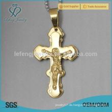 Neue Art Goldhalskettenkreuzanhänger für Männer