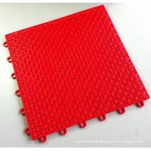 PP Interlocking Sports Flooring Tiles Asterisk Red Color