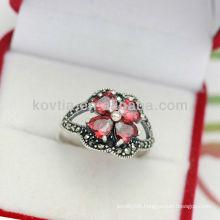 Wholesale charm red garnet rings 925 sterling silver rings