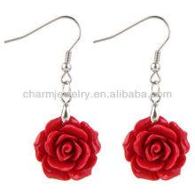 Natürliche korallenrote Rosen-Blumen-Ohrring-Art- und Weiseroter Rosen-Blumen-Ohrring FE-001
