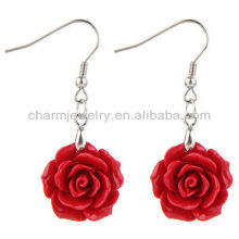 Natural Coral Rose Flower Earrings Fashion Red Rose Flower Earring FE-001