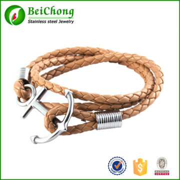 Multilayer Punk Charming Rope Hand Chain Men Stainless Steel Anchor Woven Leather Bracelets & Bangles