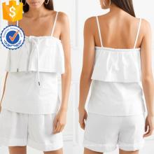 Branco em camadas de algodão Spaghetti Strap Verão Top Fabricação Atacado Moda Feminina Vestuário (TA0091T)
