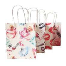 Pequeña bolsa de papel de regalo con asas para tienda de moda Fiesta de boda Navidad Año nuevo Regalo de belleza Bolsa Labios Perfume