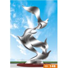 Modern metal sculptures large outdoor stainless steel sculpture