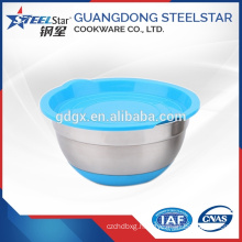 Wholesale silicone bottom stainless steel non-skid mixing salad bowl with lid