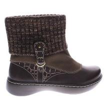 Bottes style hiver en cuir et daim avec col en tricot