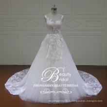 гламур высокое качество бато-линии свадебное платье,современный обычай-line этаж длина рукавов свадебное платье