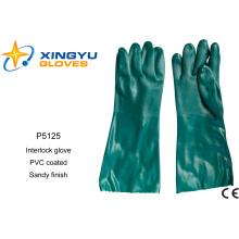 Хлопок Interlock ПВХ покрытием безопасности работы перчатки (P5125)