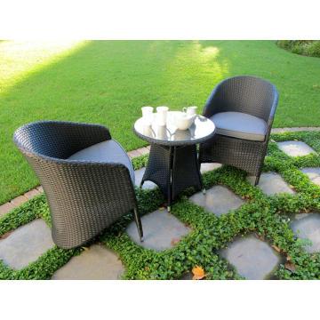 Mobília do pátio jardim vime Bistro conjunto Rattan ao ar livre