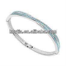 Wholesale fashion white gold bangle crystal bracelet