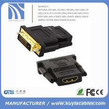 DVI 24 + 1 macho para HDMI Female Gold Converter Cabo adaptador para hdtv