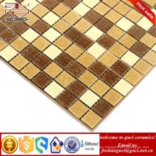 La fábrica de China suministra el azulejo amarillo mezclado caliente de la pared del piso del mosaico del mosaico de la fusión
