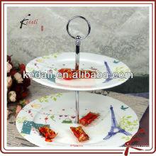 Porte-gâteau en céramique 3 couches avec décalque de paris