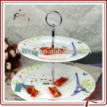 ceramic 3-layer cake stand with paris decal