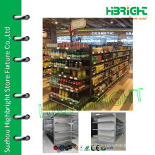 economic double-sided supermarket metal gondola storage shelf rack