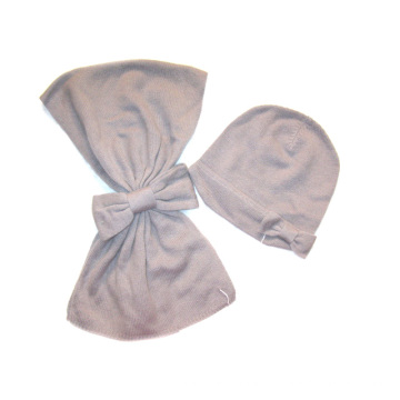 100%Cashmere knitted Scarf Hat with Bow