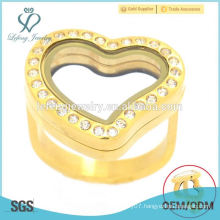 Fashion stainless steel gold plated heart glass memory floating charm locket jewelry ring