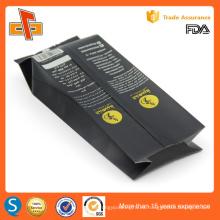 Aprobado por la FDA negro mate personalizada de impresión de papel de aluminio lado gusset bolsa de embalaje de café con la válvula de 250