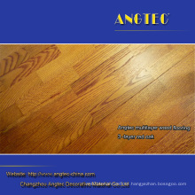Handscraped Engineered Oak Flooring Brownish Red with 2mm Top Layer