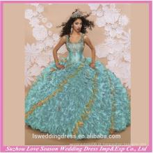 LQ0001 2016 novo estilo alças de ombro bordado de ouro verde arranjado de organza design vestido de quinceanera vestido vestido de quinceañera