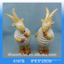 Ovelhas de cerâmica criativa estatueta, cerâmica decoração de ovinos, ovelhas de cerâmica statu