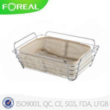Retangular cromado cesto de pão do fio de Metal