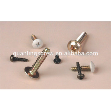 Yellow zinc plated with phillips pan head self tapping lock screw