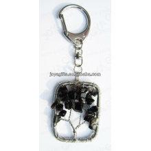 Natürlicher schwarzer Onyx-Chip-Stein verdrahtete glückliches Baum-Anhänger keychain